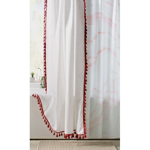 Angelia 100% Cotton Tassel Shower Curtain by Eider & Ivory